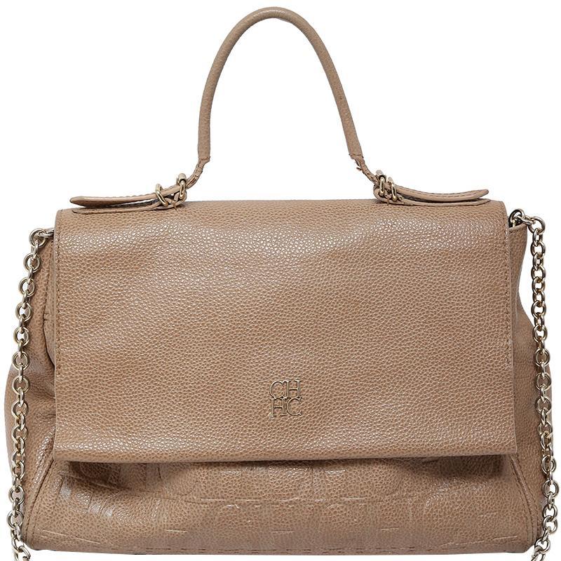 becddea95d Lyst Carolina Herrera Beige Leather Minuetto Flap Bag In Natural