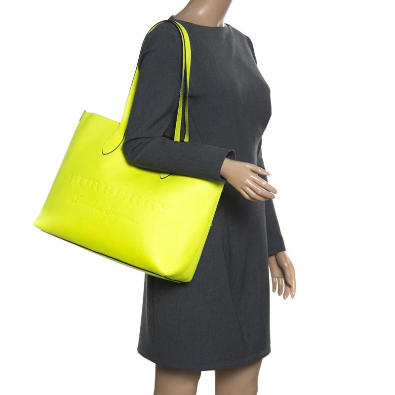 fecfafaa8494 Lyst - Burberry Neon Leather Remington Shopper Tote in Yellow