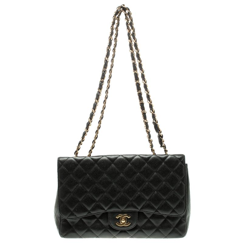 Chanel. Women s Black Quilted Caviar Leather Jumbo Classic Single Flap Bag 9ff5dcdaf3