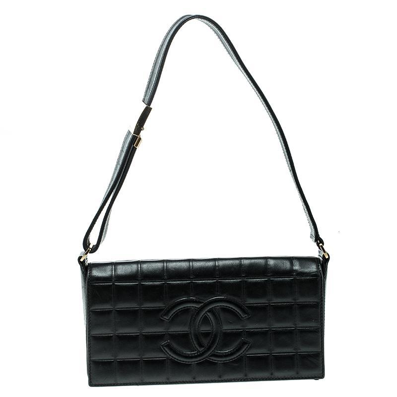 71df5173ef8d Lyst - Chanel Black Chocolate Bar Leather East West Shoulder Bag in ...