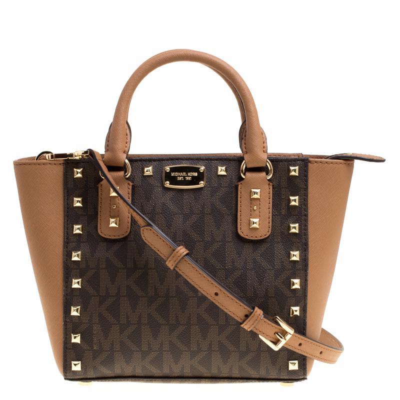 e40ca2a3c649 MICHAEL Michael Kors Signature Coated Canvas And Leather Small ...
