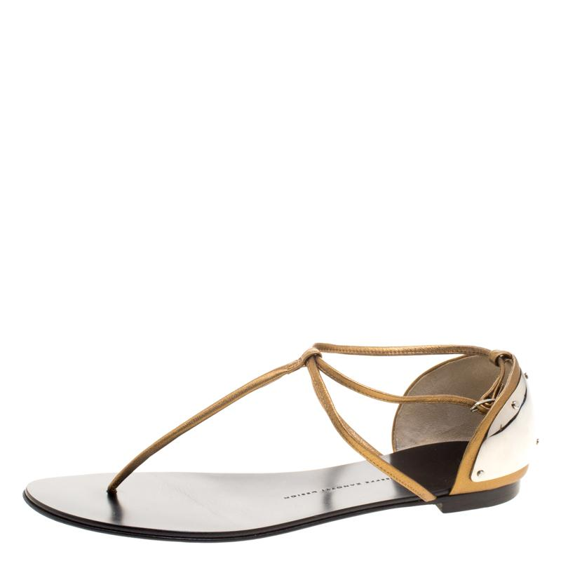 9d345aa4aae787 Lyst - Giuseppe Zanotti Bronze Leather T-strap Flat Sandals in Metallic