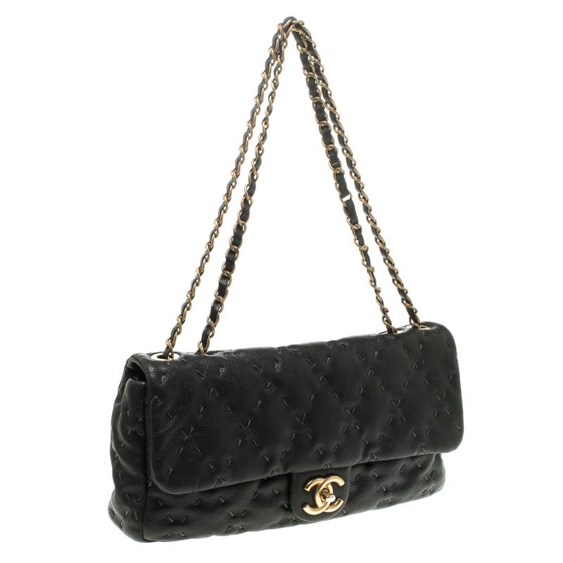 9ceec4893b88 Chanel Black Quilted Wild Stitch Caviar Leather Classic Flap ...