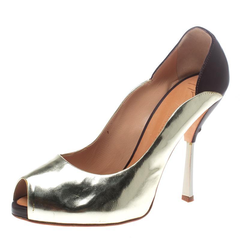 7bd22514ff548 Giuseppe Zanotti. Women's Metallic Gold/burgundy Leather Peep Toe Court  Shoes ...