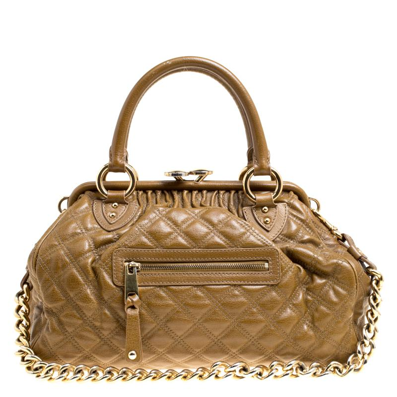 27241d7fbba0 Lyst - Marc Jacobs Khaki Quilted Leather Stam Shoulder Bag in Brown