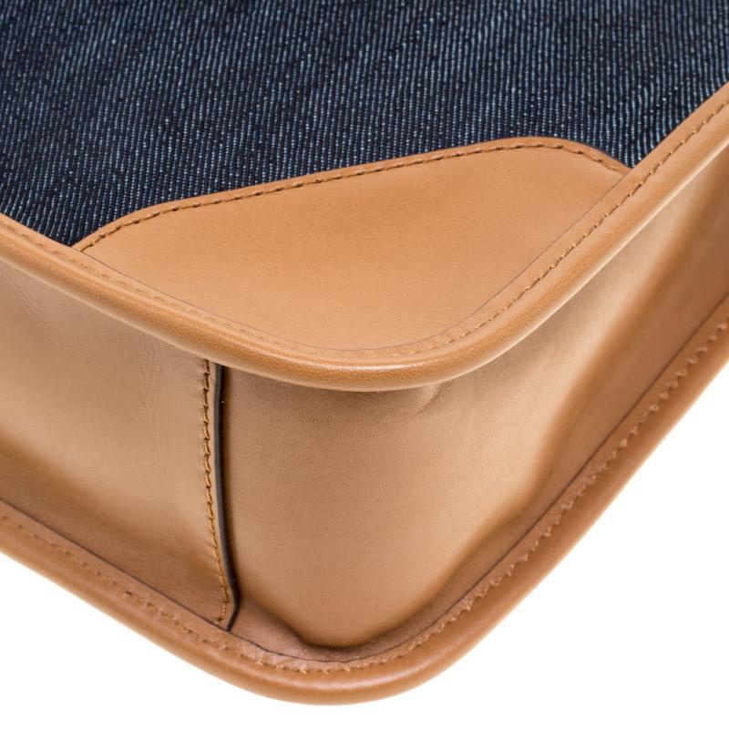 2d36e9e484c7 Michael Kors - Navy Blue tan Denim And Leather Large Sullivan North South  Messenger Bag. View fullscreen