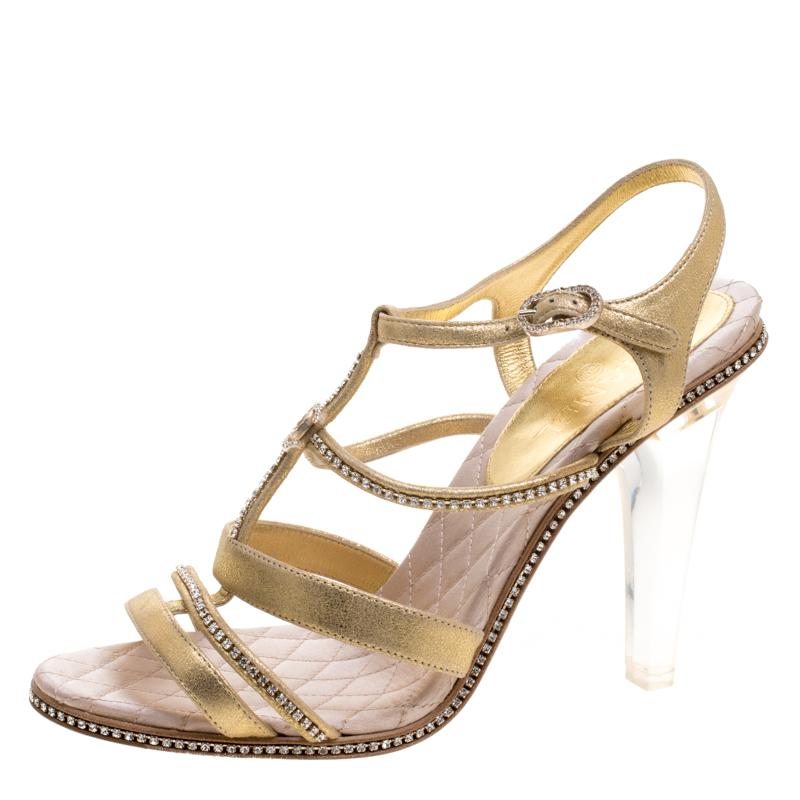 89bd2f28bfc894 ... Lyst - Chanel Metallic Cc Crystal Embellished Suede Lucite Heel ...  100% genuine  Chanel - Silver Leather Ankle Strap Faux Pearl ...