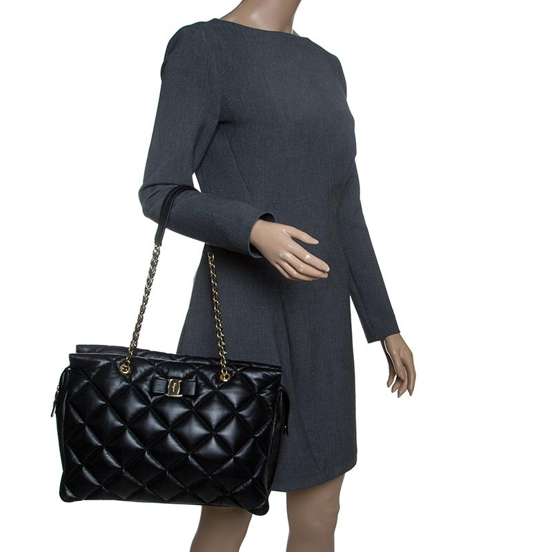 903d1f6f35 Ferragamo - Black Quilted Leather Ginette Chain Shoulder Bag - Lyst. View  fullscreen