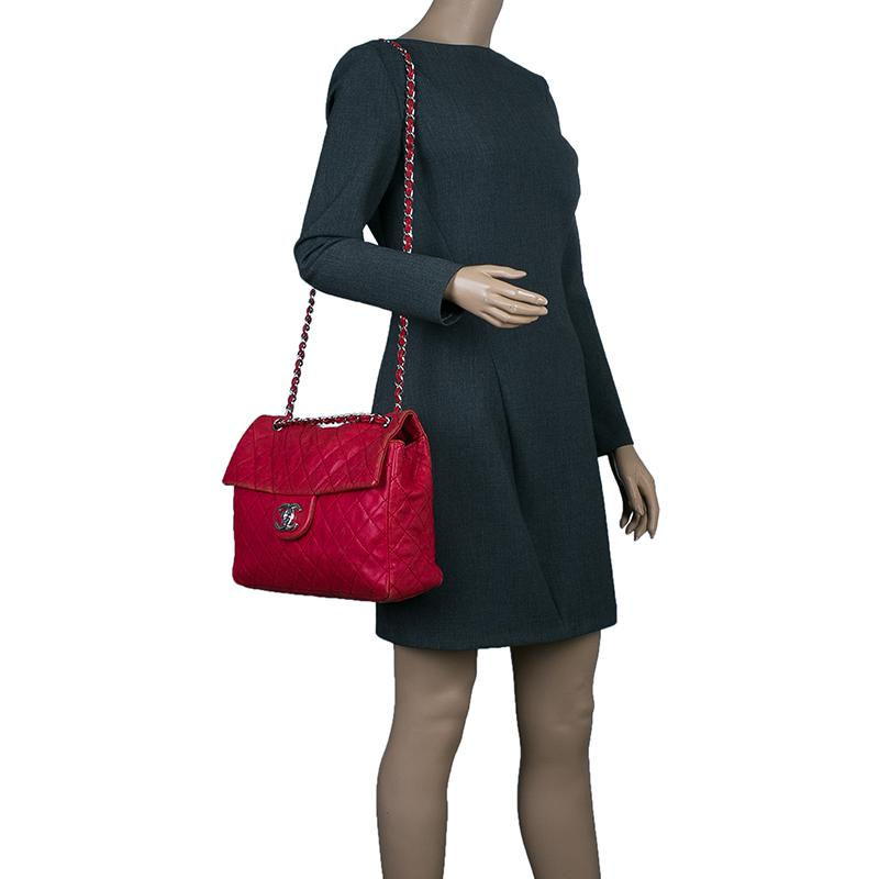 5173049cfcbf1c Chanel Washed Caviar Leather Maxi Jumbo Xl Classic Flap Bag in Red ...