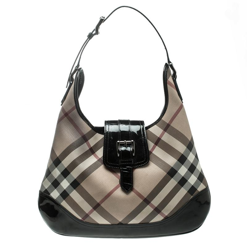 63d12981eefd Burberry Nova Check Pvc Brooke Hobo in Black - Lyst