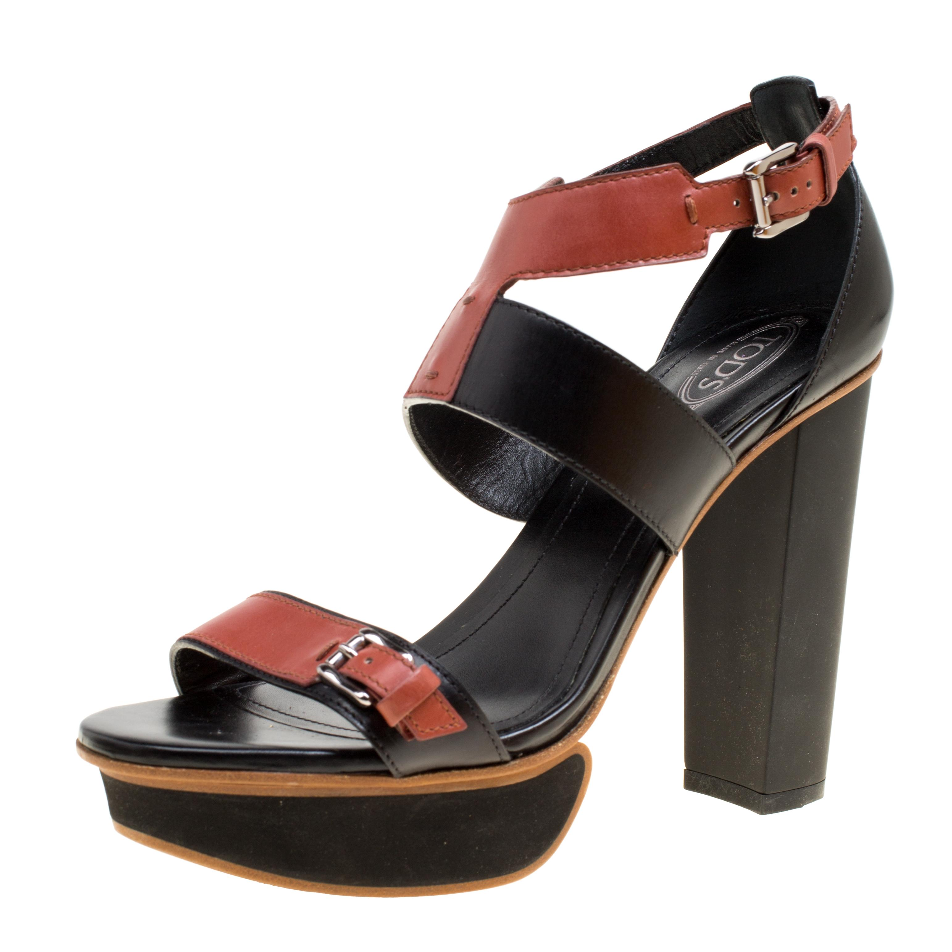 e81f92944991 Tod s Black And Brown Leather Ankle Strap Platform Sandals Size 38 ...