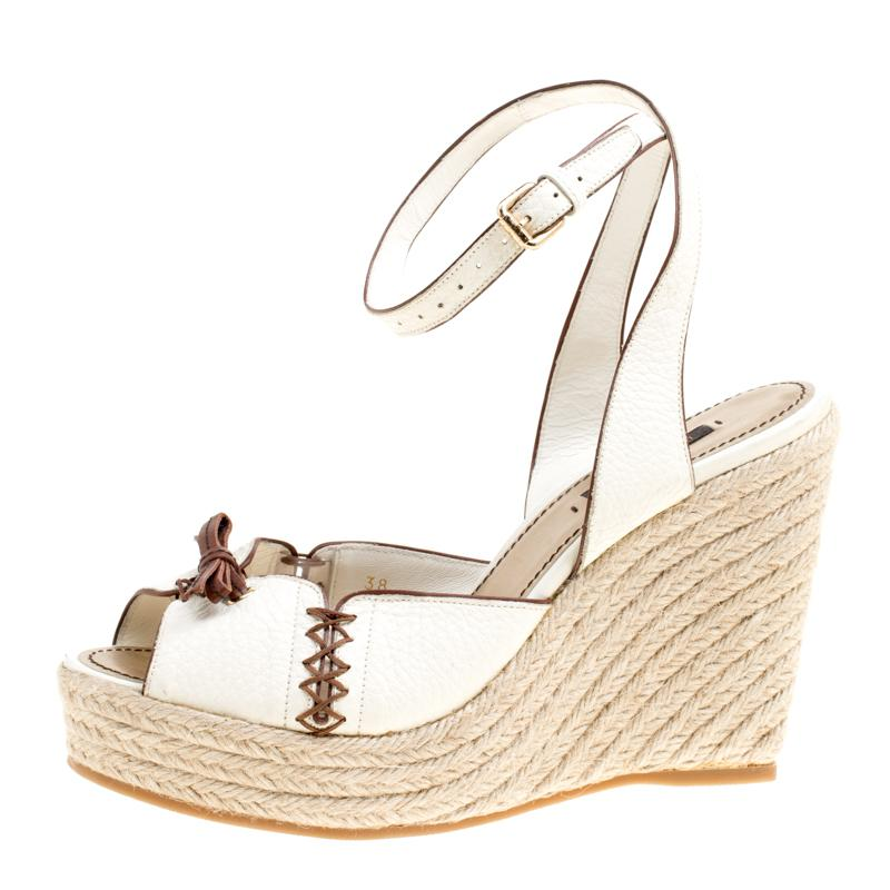12b7a4dc72a8 Louis Vuitton - White Off Leather Ankle Strap Espadrilles Wedge Sandals -  Lyst. View fullscreen