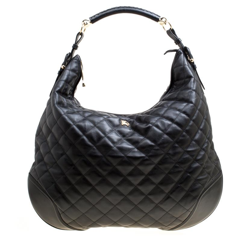 Lyst - Burberry Quilted Leather Hoxton Hobo in Black dde781e14e91d