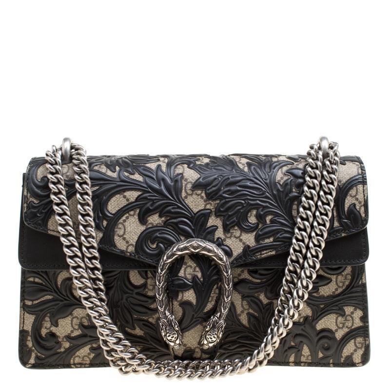 761da46e4a2 Gucci. Women s Beige black GG Supreme Canvas And Leather Small Dionysus  Arabesque Shoulder Bag