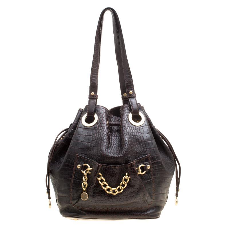 c74185ea910f Lancel Dark Croc Embossed Leather Drawstring Bucket Bag in Brown - Lyst