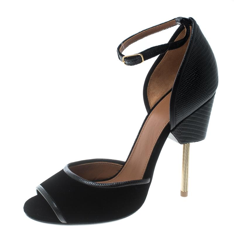 2ffc15f384a Lyst - Givenchy Velvet And Leather Matilda Ankle Strap Sandals in Black