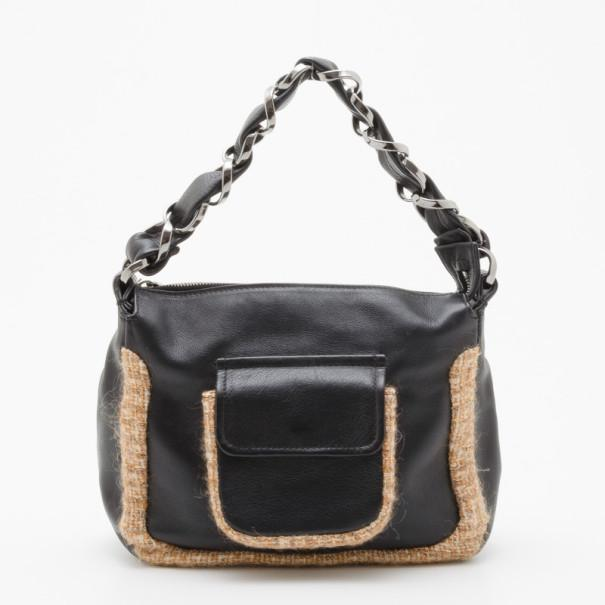 ea36fda1fcdffe Lyst - Chanel Tweed And Leather Shoulder Bag in Black
