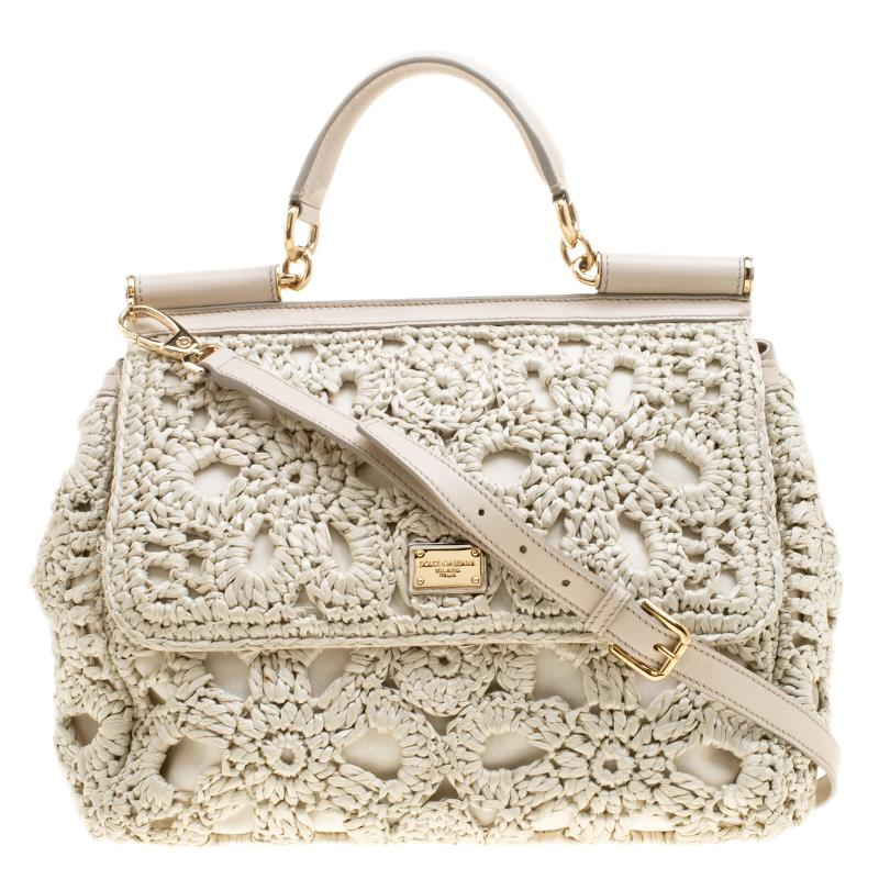 Dolce   Gabbana Off Crochet Raffia Large Miss Sicily Top Handle Bag ... 51298bbf515be