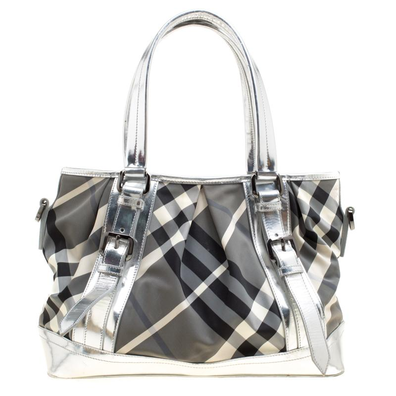 cbd6def3af51 Burberry. Women s Metallic Silver Beat Check Nylon And Patent Leather ...