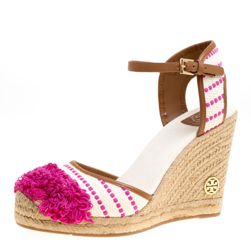 fd6bf5cadba Tory Burch Leather-trimmed Fringed Canvas Wedge Espadrilles in ...