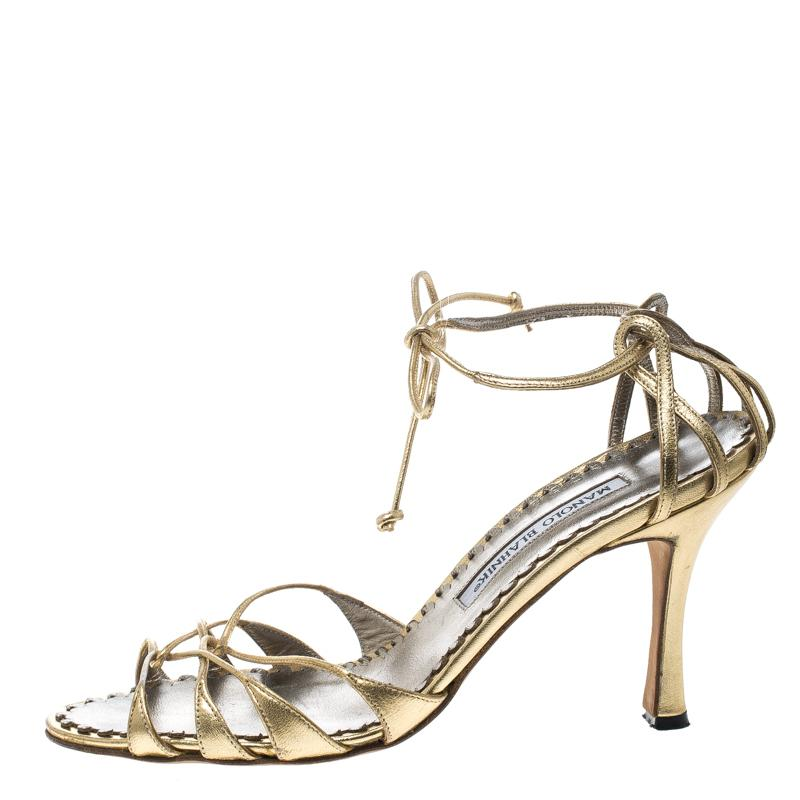 7235b467c37a Manolo Blahnik - Metallic Leather Strappy Ankle Wrap Sandals - Lyst. View  fullscreen