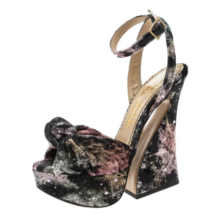 d069b44d87d4 Charlotte Olympia. Women s Black Crystal Embellished Galaxy Print Velvet  Vreeland Peep Toe Platform Sandals