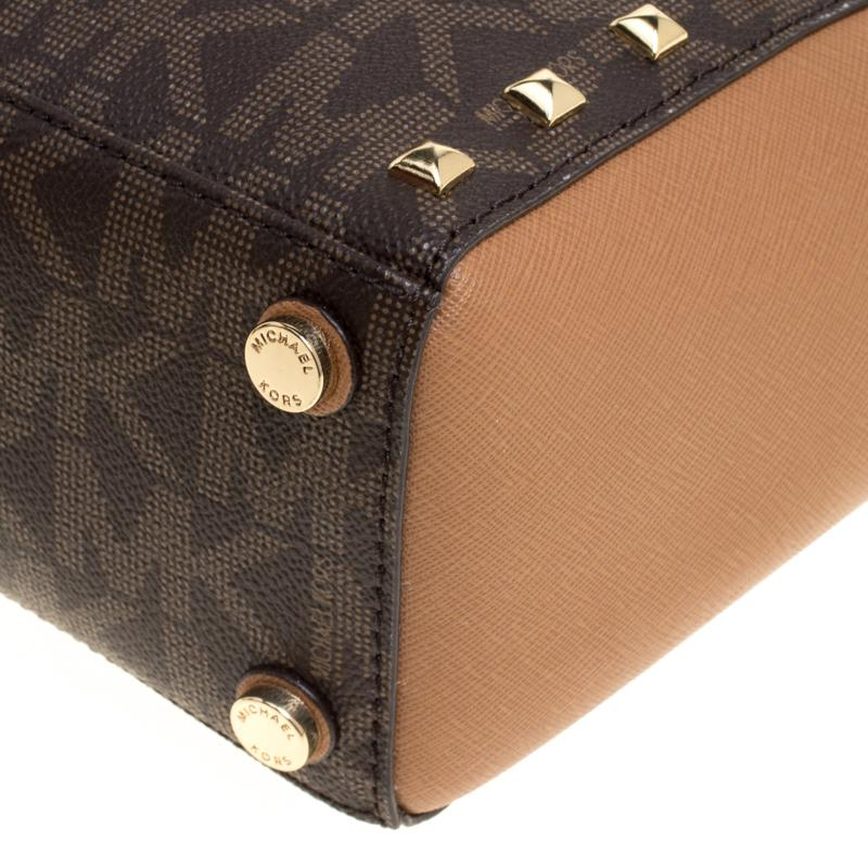 92917c222be8 MICHAEL Michael Kors Signature Coated Canvas And Leather Small ...