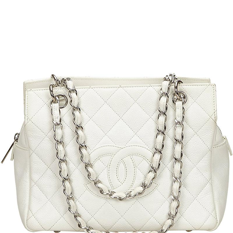 5b09bf7363fe Chanel Quilted Caviar Petite Timeless Tote in White - Lyst