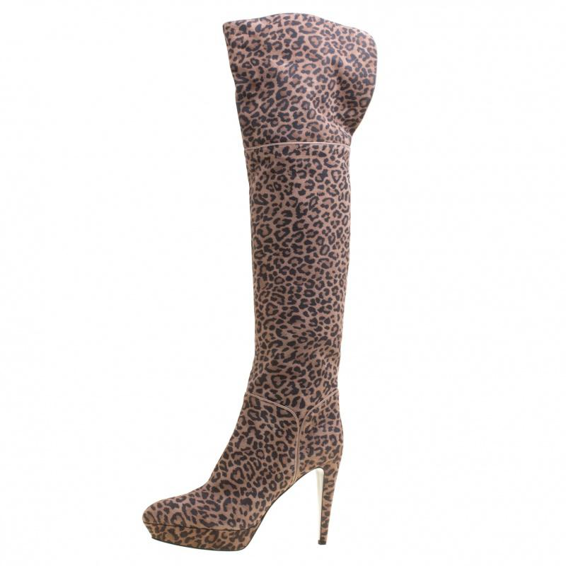 8893bcad66f Sergio Rossi - Brown Taupe Leopard Print Suede Over The Knee Platform Boots  - Lyst. View fullscreen