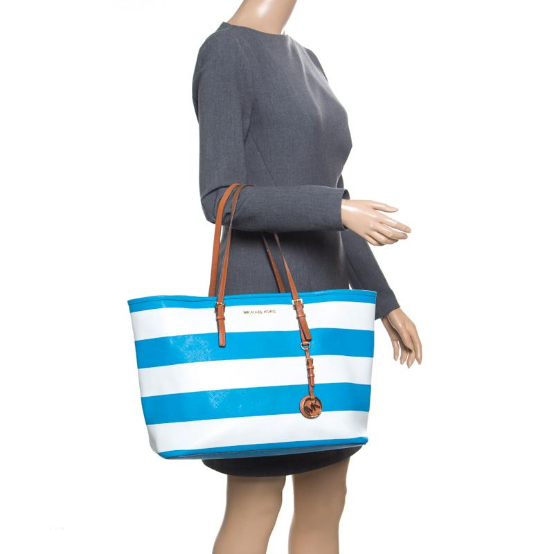 1b95c0ca2a6ee3 Michael Kors - Summer Blue/white Striped Leather Jet Set Travel Tote -  Lyst. View fullscreen