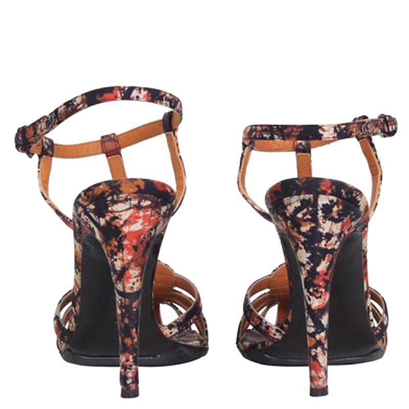 7938ab6867b Bottega Veneta Corniola Topaz Pollock Print Silk Sandals - Lyst