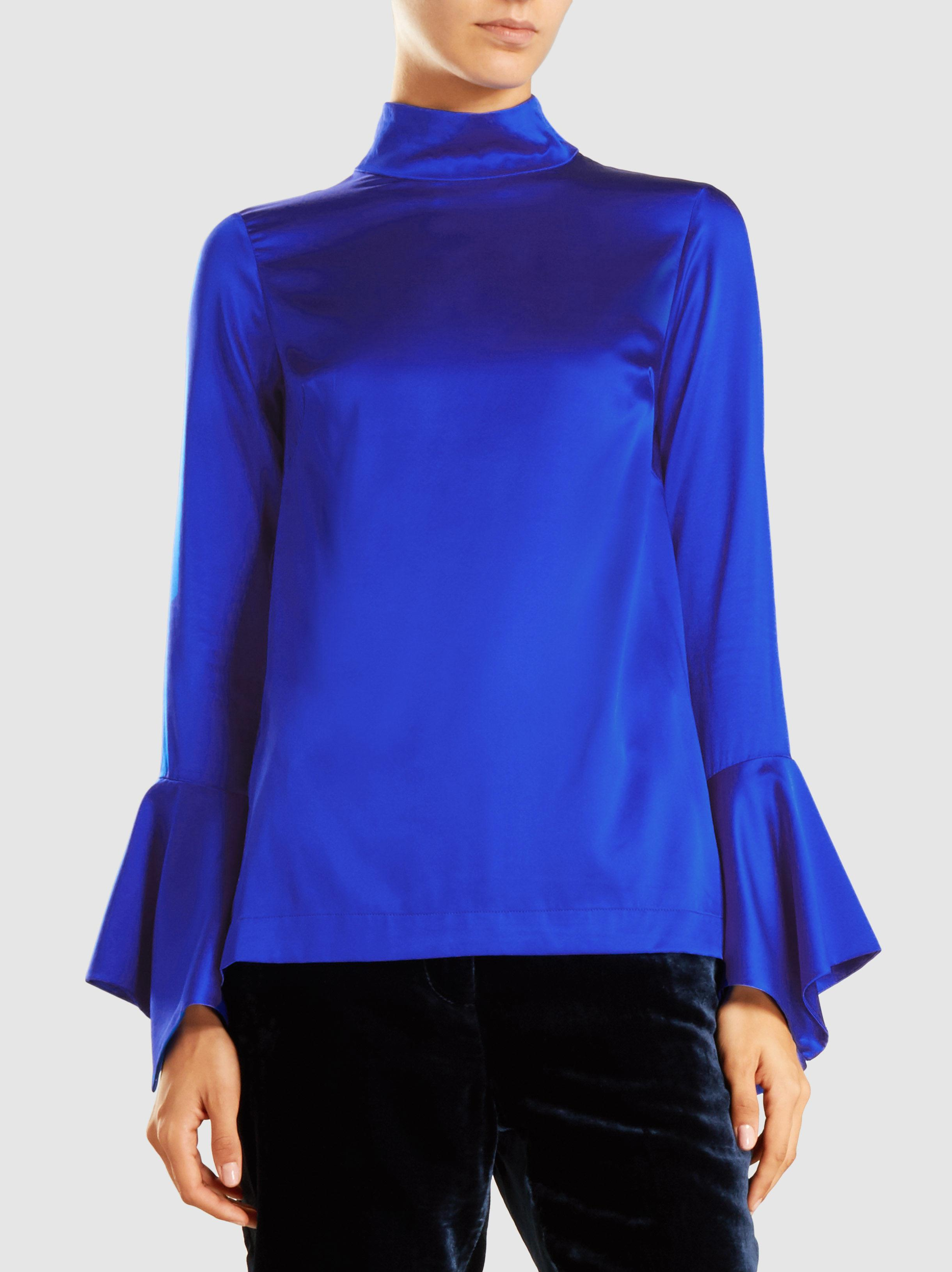 fca35472a7b3f Lyst - Paper London Rufus High Neck Silk Blouse in Blue