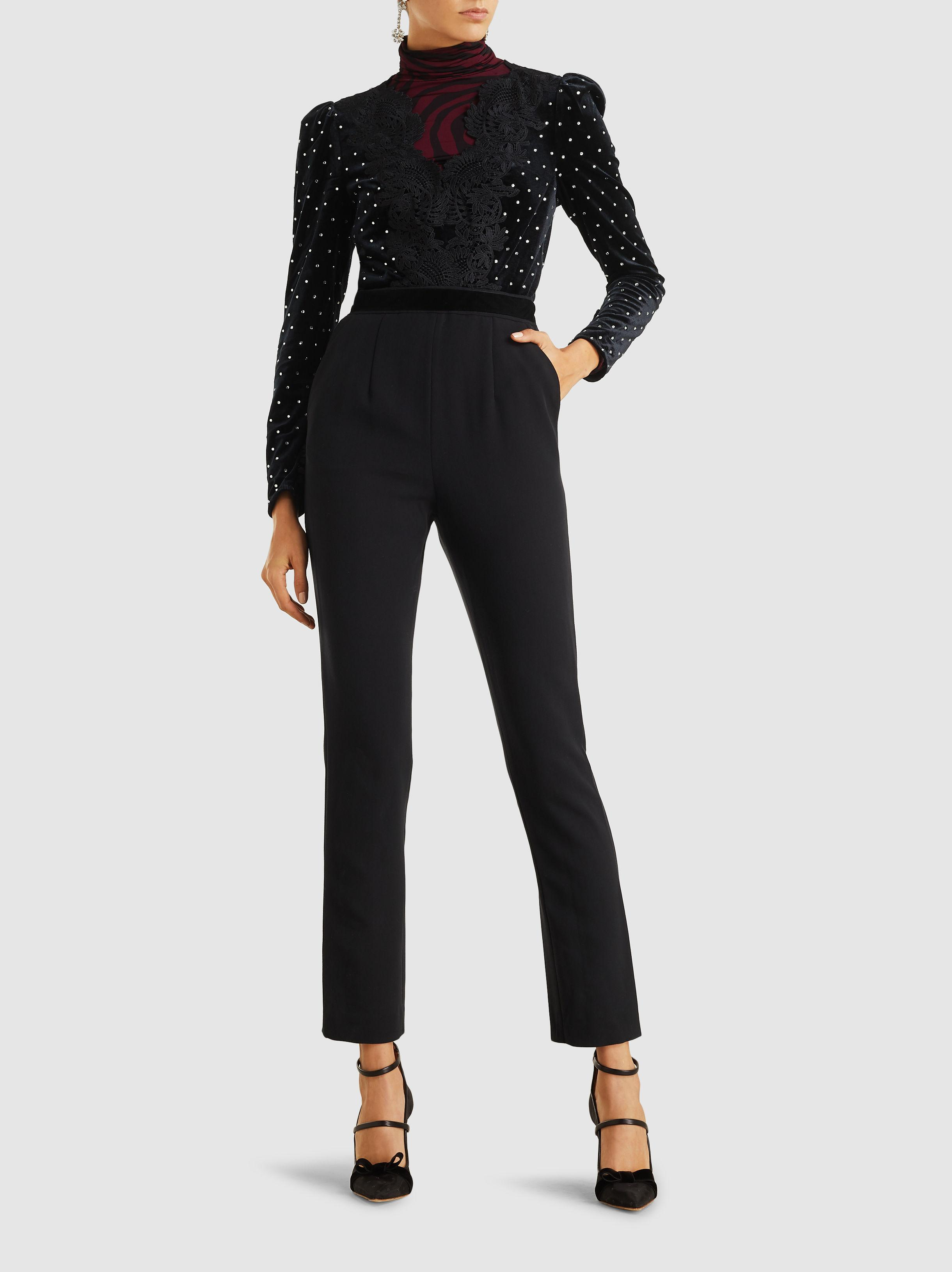 f606d5762f55 Self-Portrait - Black Jumpsuit With Crystals And Lace - Lyst. View  fullscreen