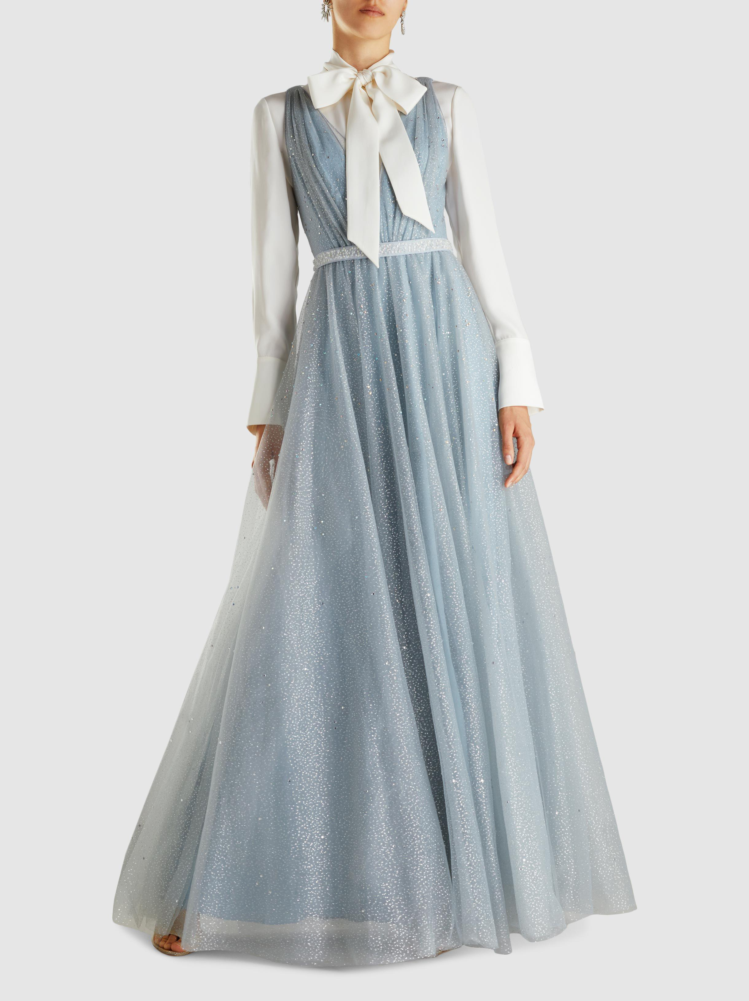 Lyst - Jenny Packham Skye Crystal-embellished Tulle Gown in Blue