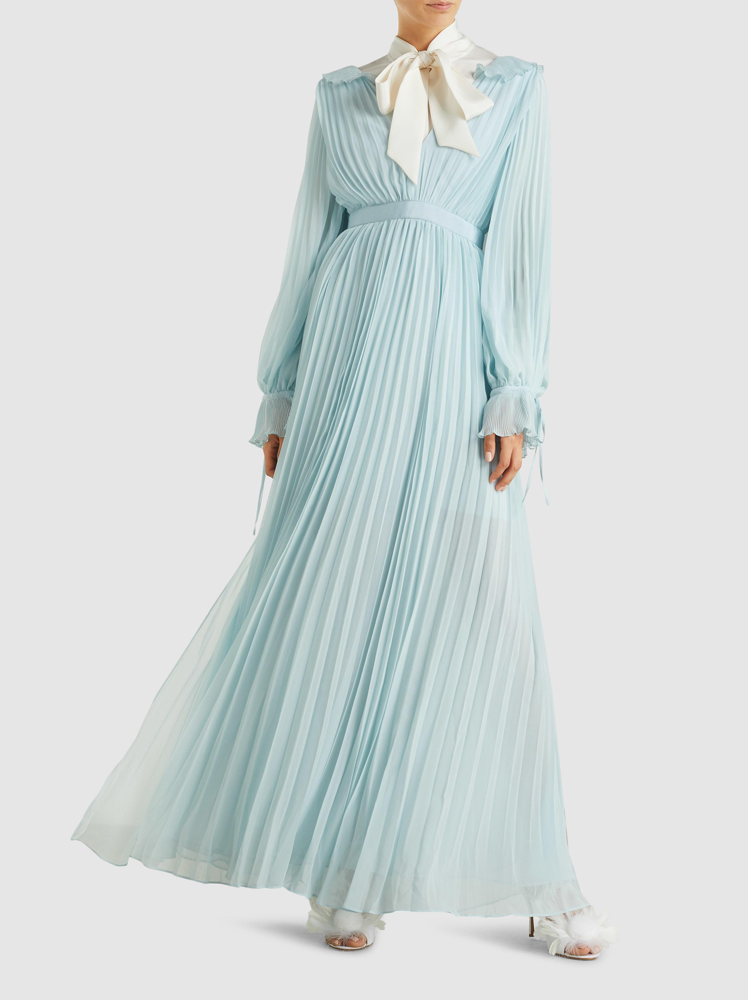 40c3467ab107c Self-Portrait - Blue Pleated Chiffon Maxi Dress - Lyst. View fullscreen