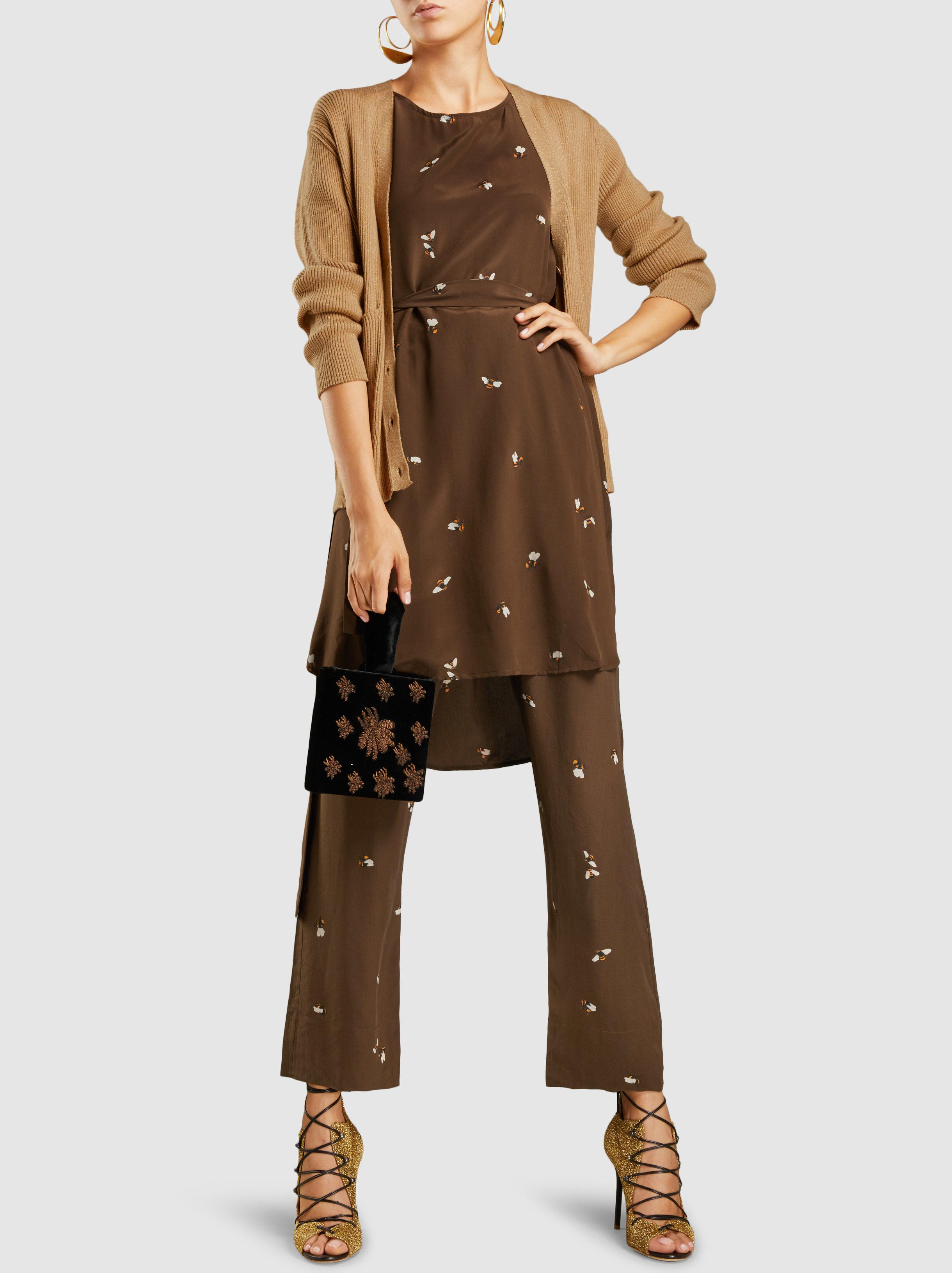 Quality Free Shipping For Sale Vinnie Bee-Print Silk Straight Leg Trousers Stine Goya Cost Online Shop Offer For Sale aafAQWZ