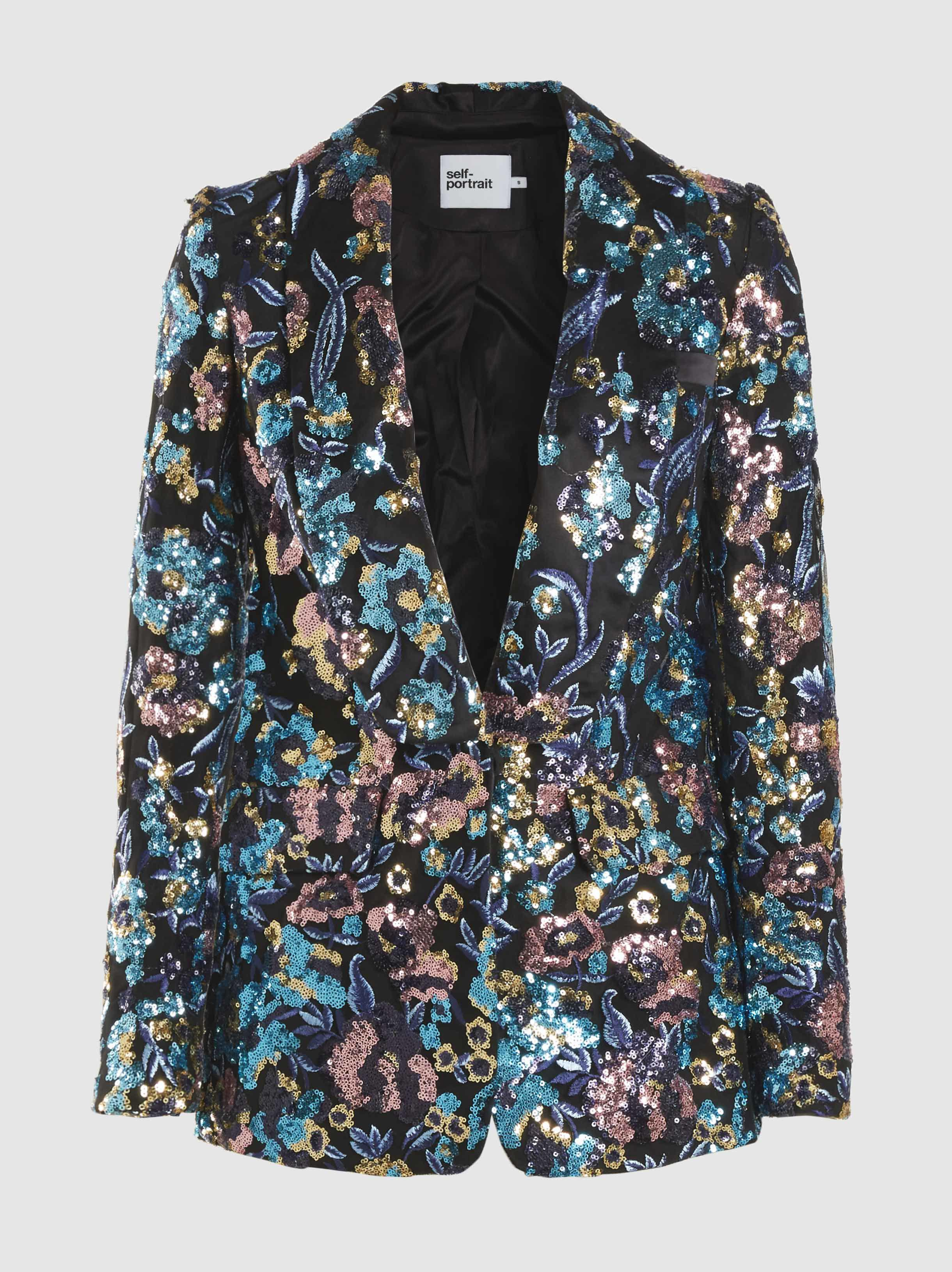 271bb2888848 Lyst - Self-Portrait Single Breasted Floral Sequinned Blazer in Black