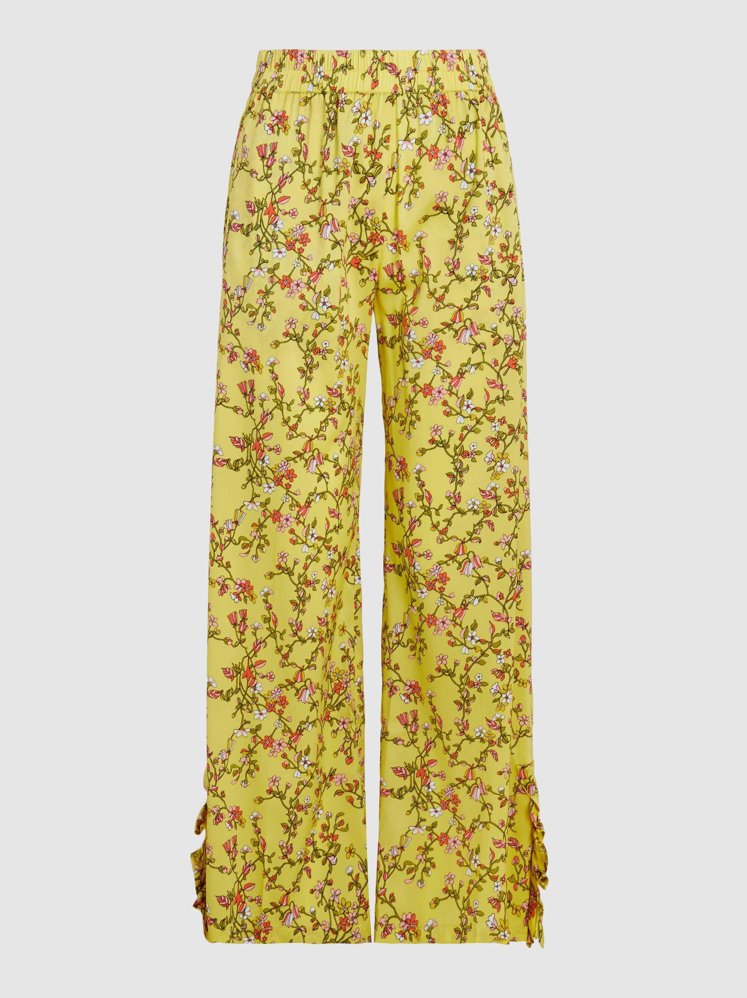 Nissa Pantalon De Soie Stretch Imprimé Arbre Et Jardin Cheval yrj6h2
