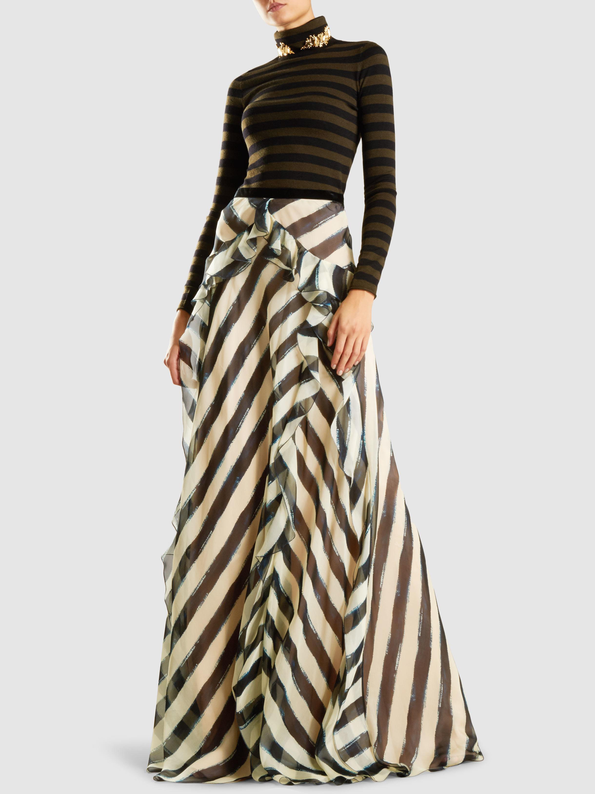 Free Shipping Recommend Ruffle Striped Silk Maxi Skirt Alberta Ferretti Buy Cheap Low Shipping Fee Pay With Visa Cheap Price p5s9BUU