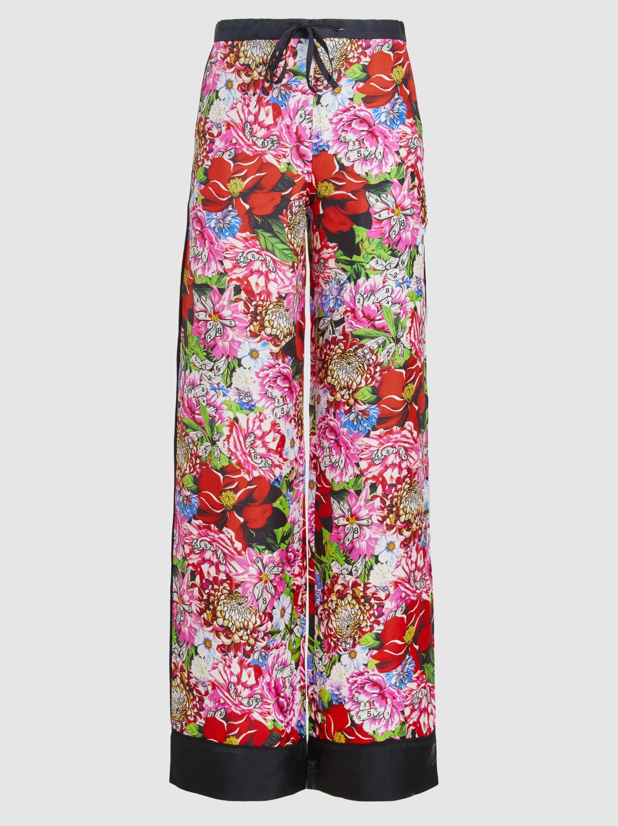 Macaw Floral-print Silk-satin Twill Wide-leg Pants - Fuchsia Mary Katrantzou gzci0