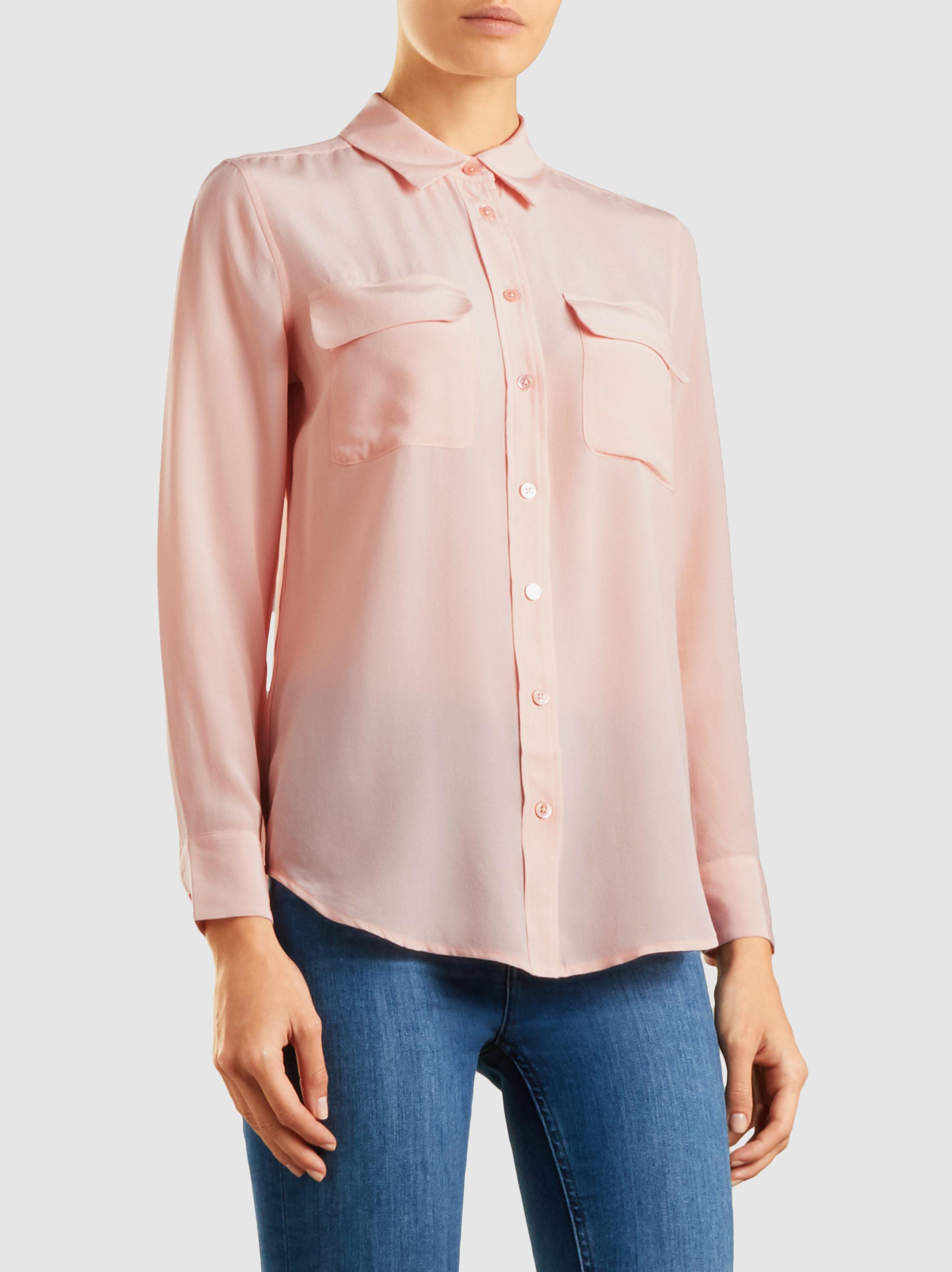 8963c7d7961abd Lyst - Equipment Slim Signature Washed-silk Shirt in Pink