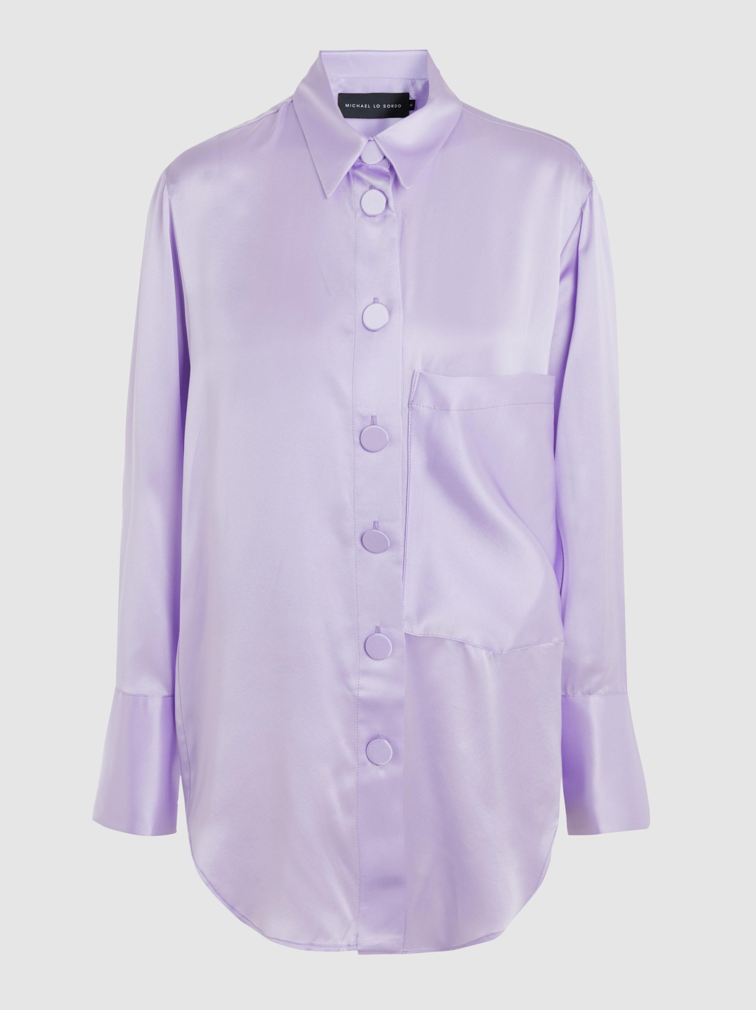 87a653854bfc0f Lyst - Michael Lo Sordo Cocoon Silk Shirt in Purple