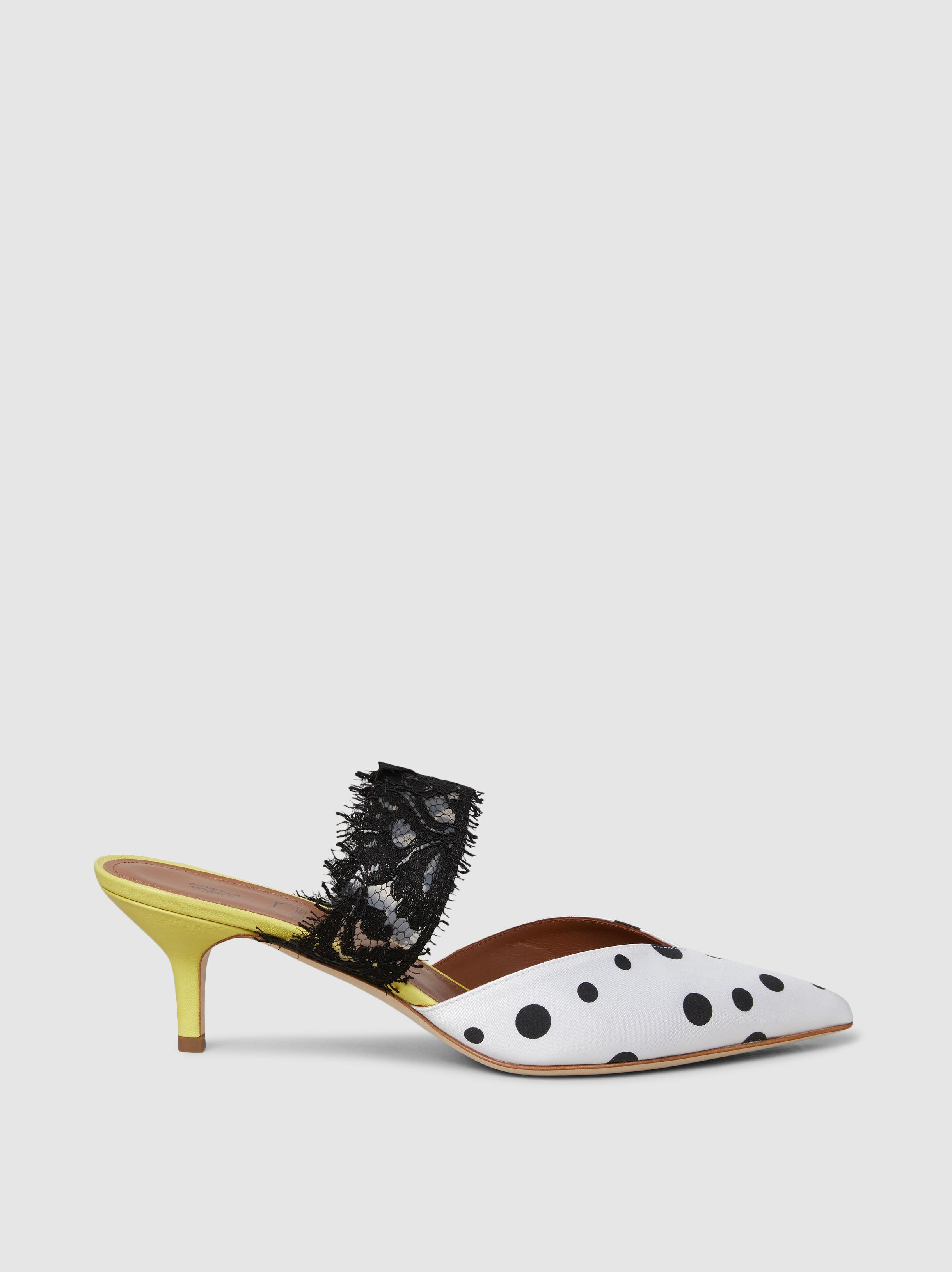 MALONE SOULIERS Maisie Satin and Lace Mules