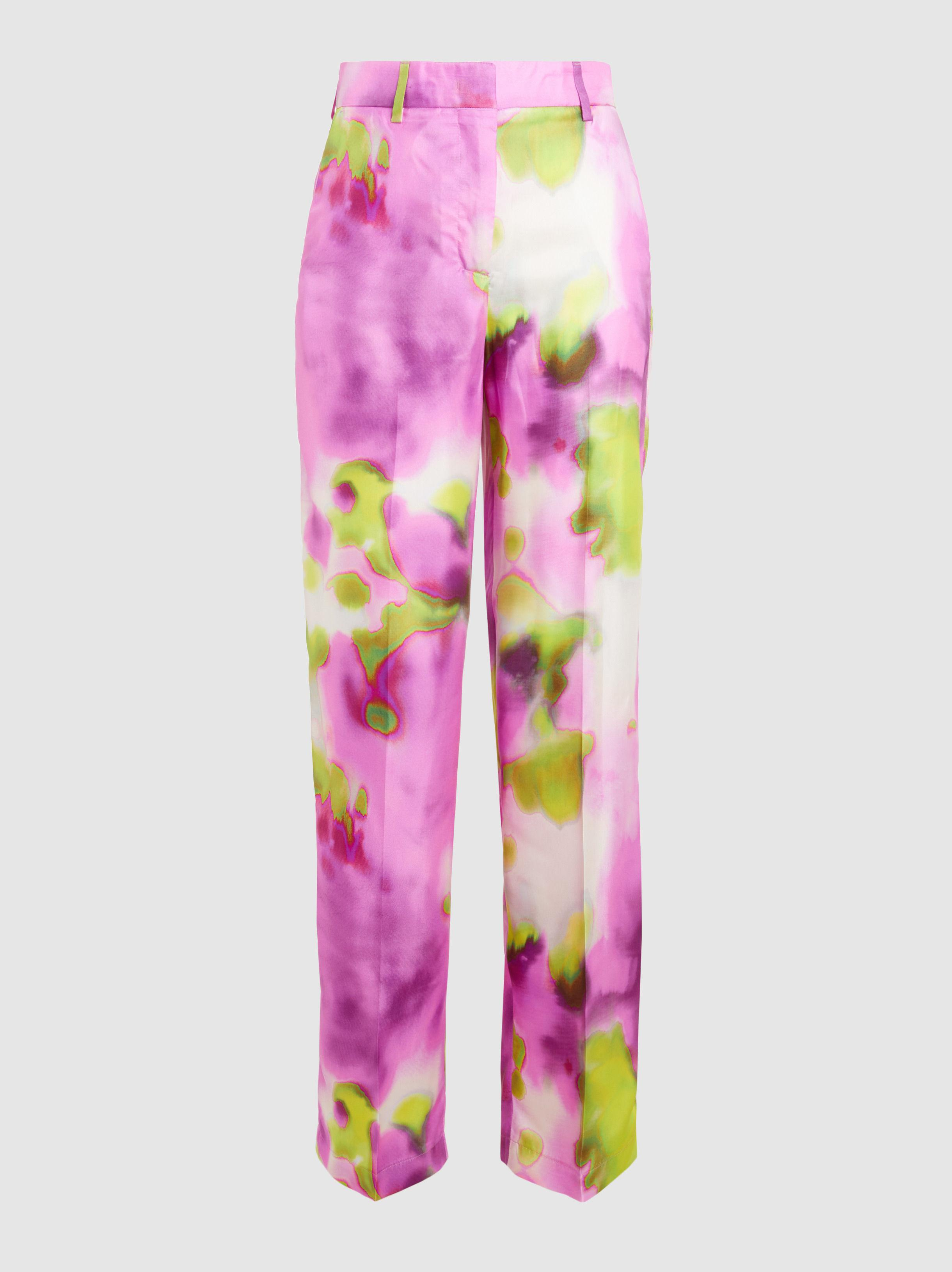 Colorant Cravate Impression Évasé Pantalon En Soie Msgm BFhsjW