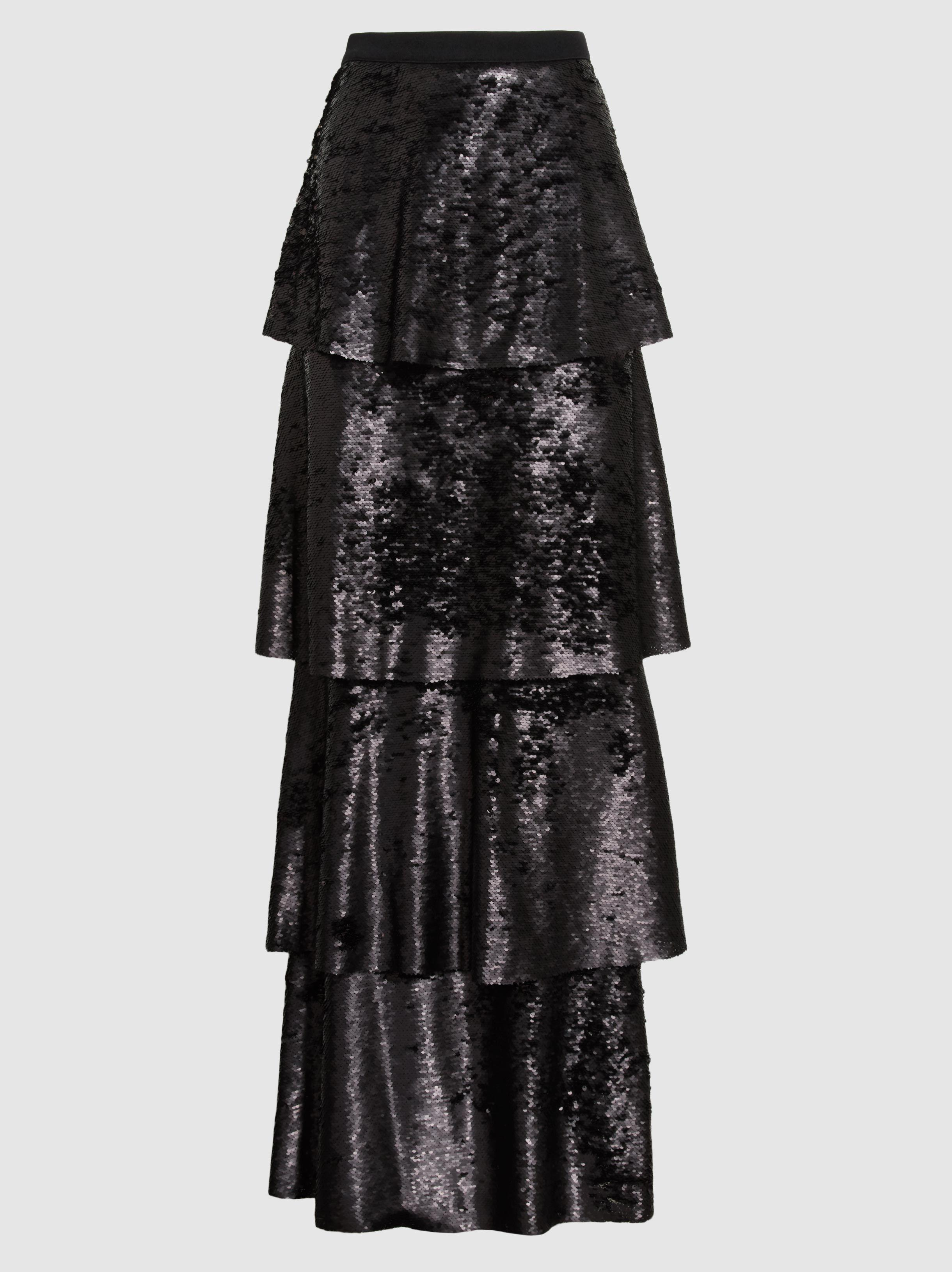 Huge Surprise Online Cheap Sale Clearance Store Payette Tiered Sequinned Maxi Skirt SAFiYAA Sale Footlocker Finishline Cost For Sale 53YESfGer