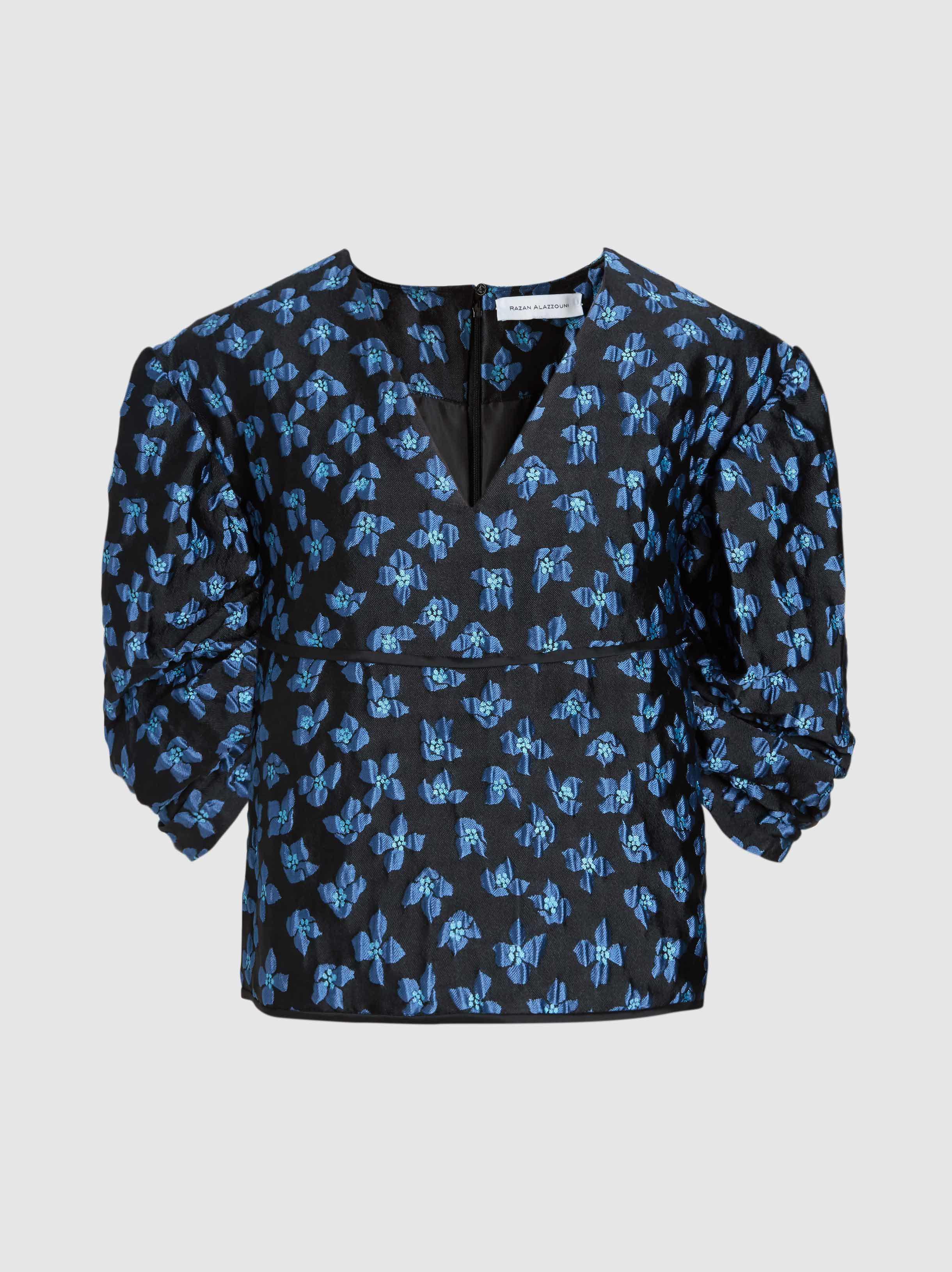 Lyst Razan Alazzouni Exaggerated Sleeve Printed Top In Blue