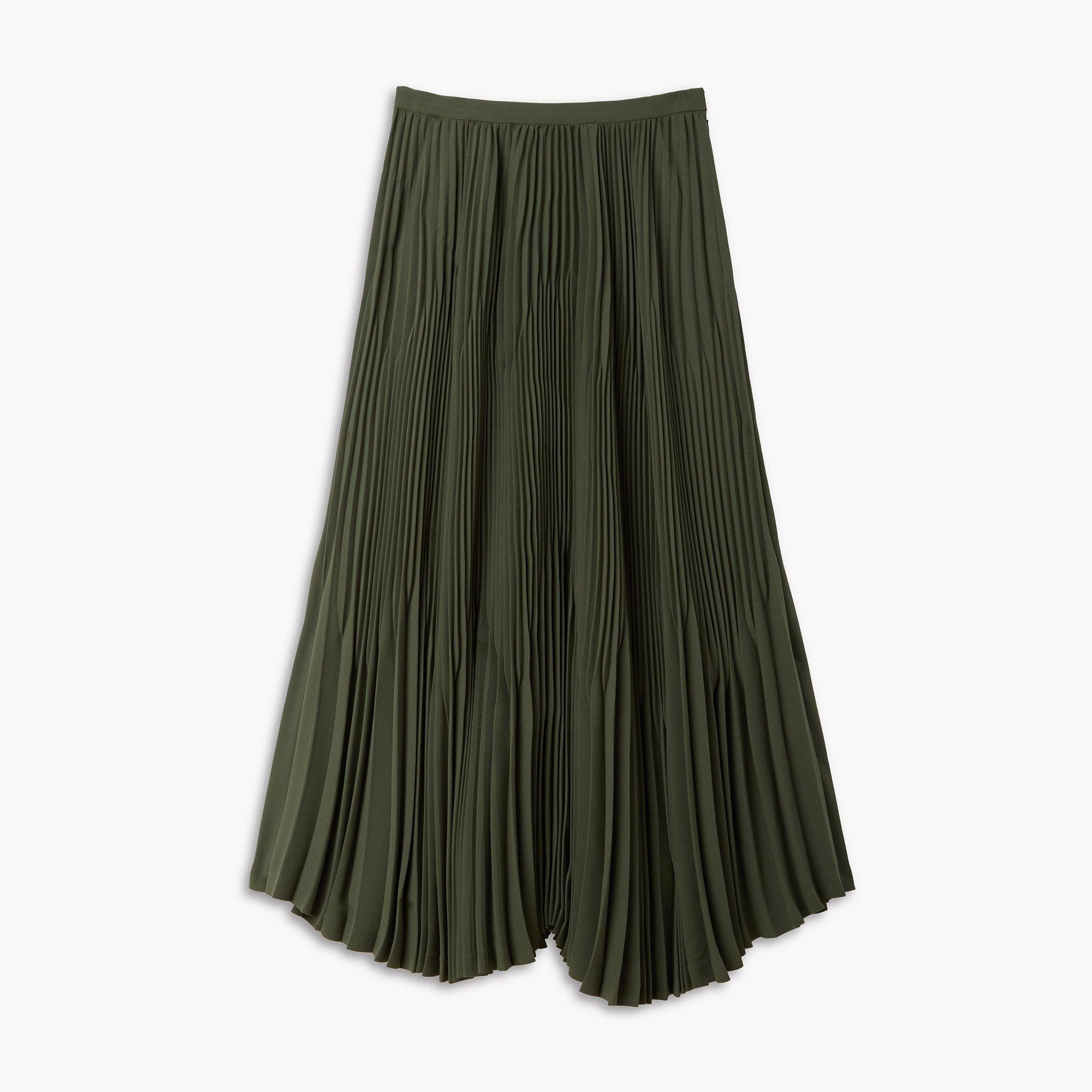 theory crepe pleated midi skirt in green lyst