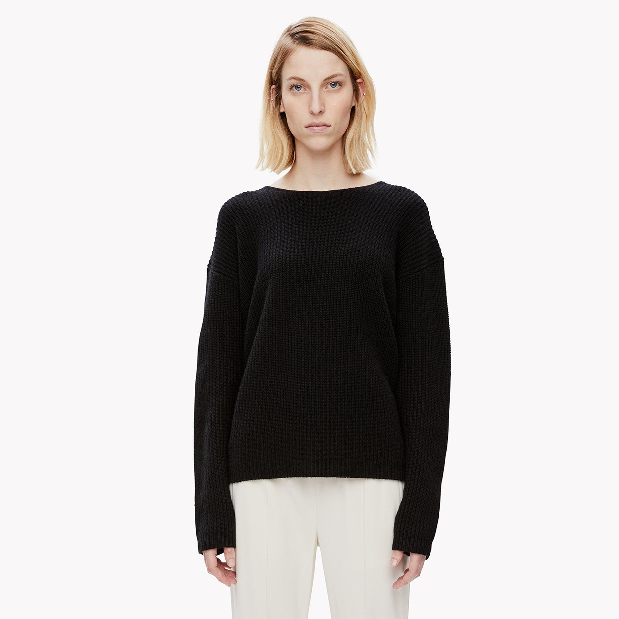 Lyst - Theory Cashmere Twist-back Sweater in Black fc8ad53bc