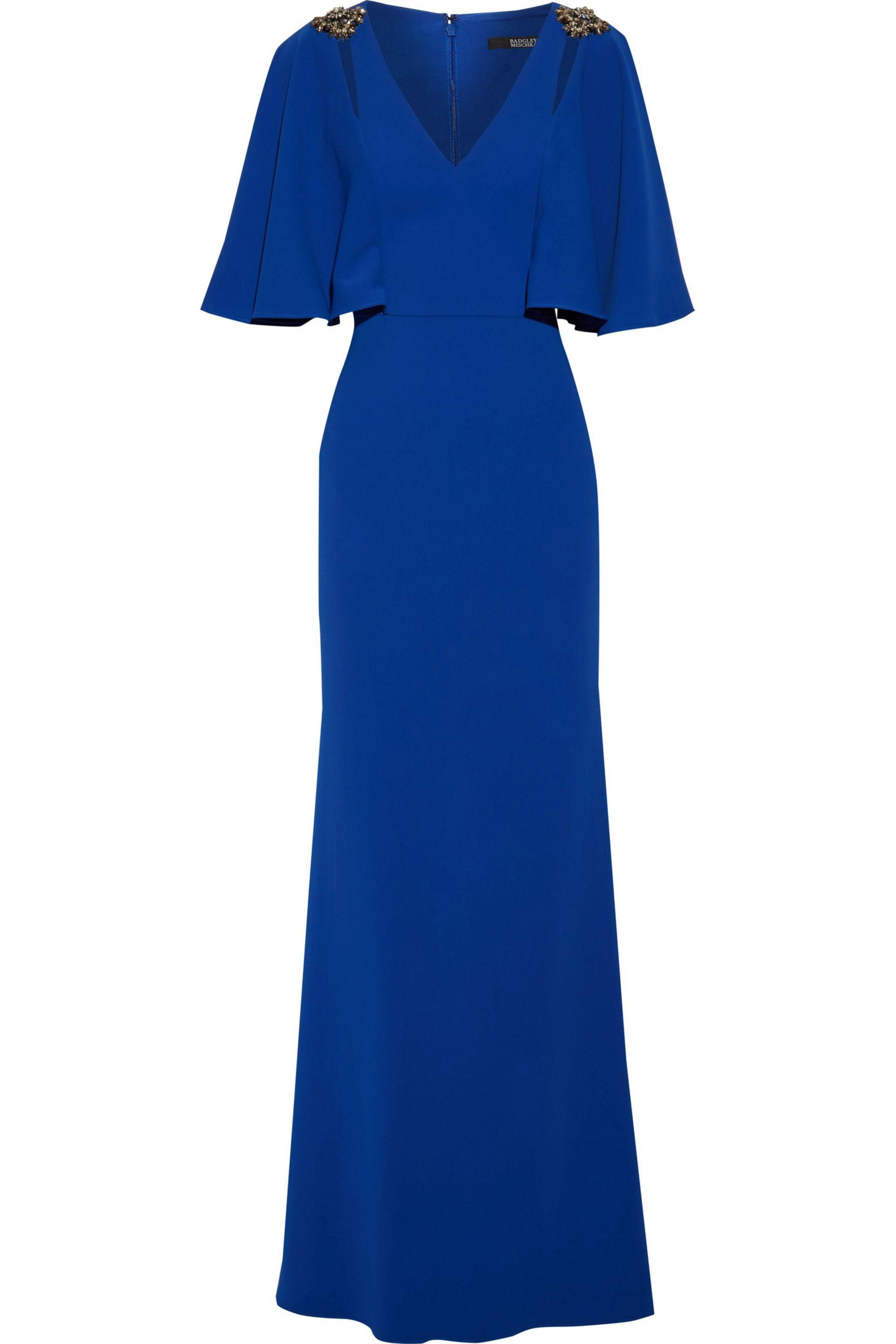 Badgley Mischka. Women's Blue Fluted Embellished Stretch-cady Gown
