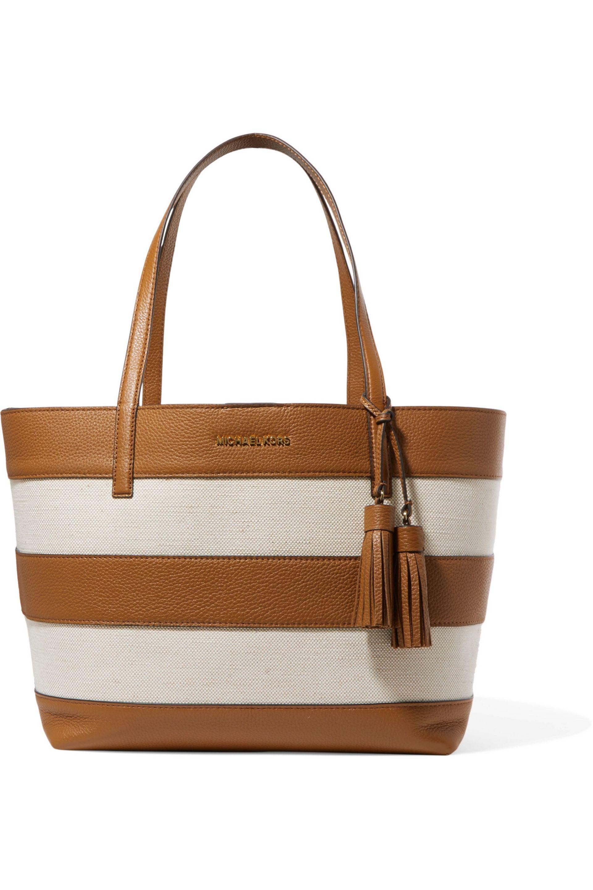 b68301155 ... cheap michael michael kors striped leather and canvas tote in natural  lyst 491da 1865f